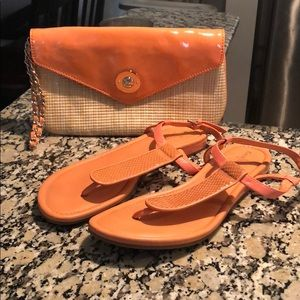Cole Haan sandals with matching clutch